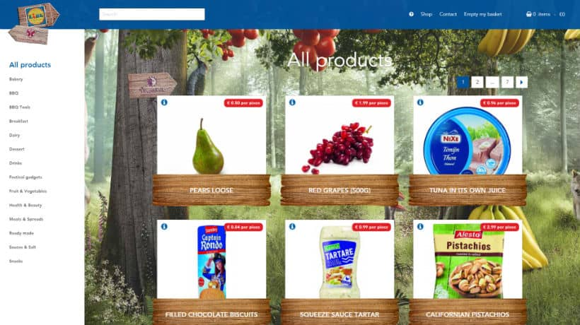 screenshot webshop lidl festivalshop op tomorrowland