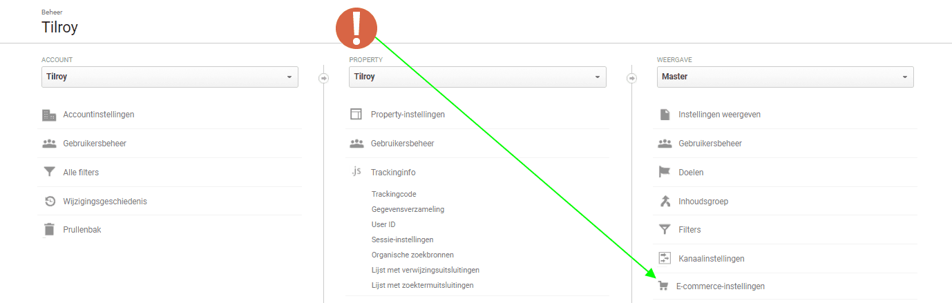 Google Analytics ecommerce account instellingen