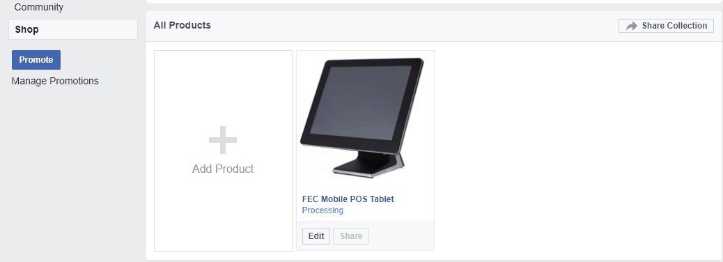 Your first product in your Facebook shop