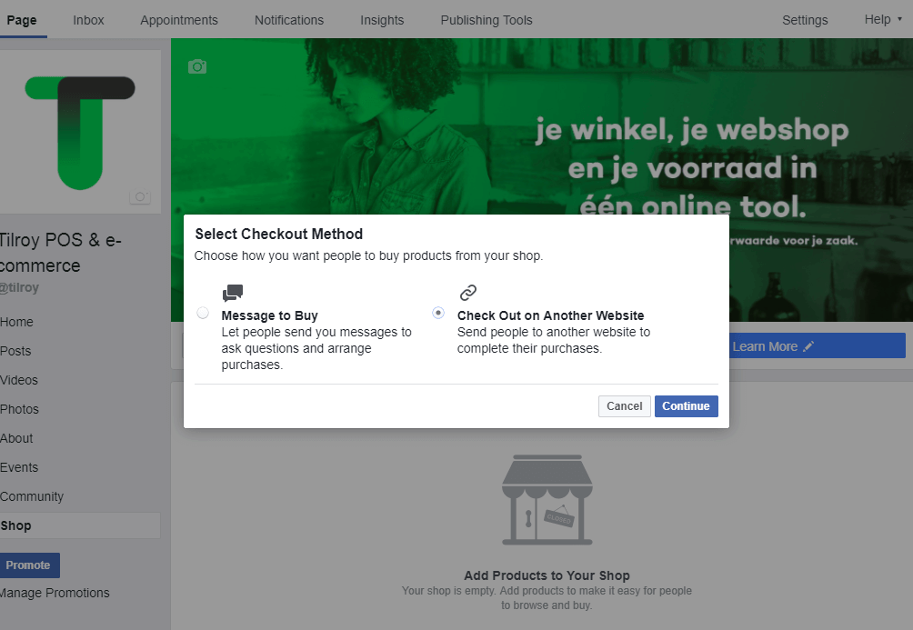 creating a Facebook shop Step 3: choose the preferred payment method