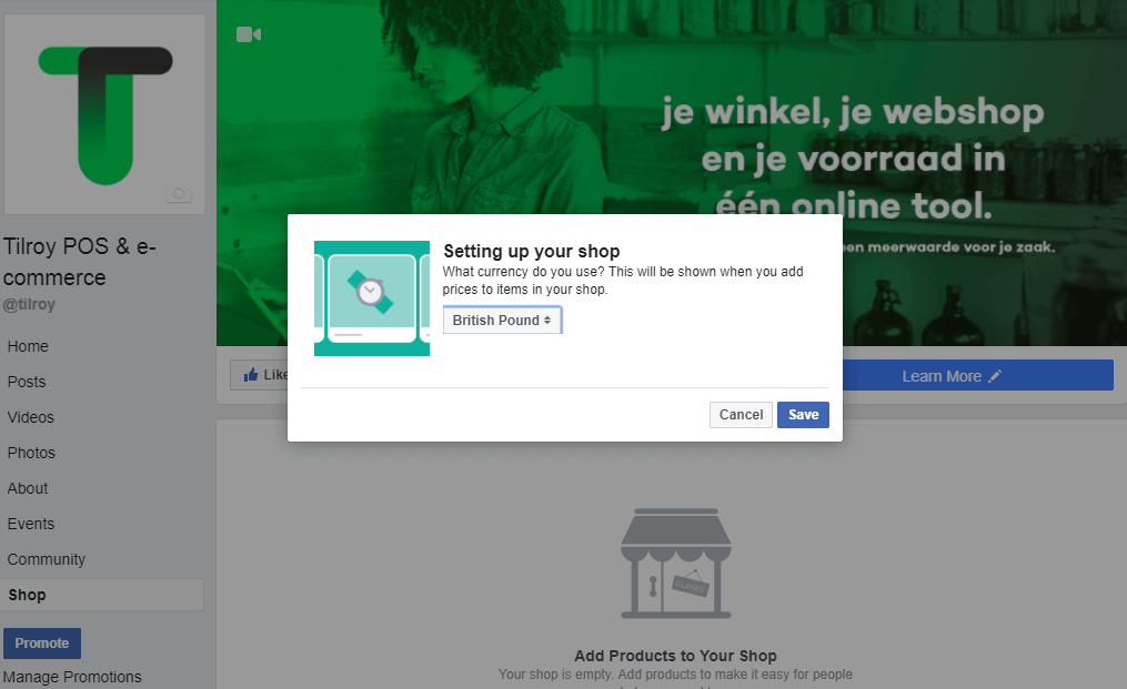 Creating a Facebook page step 4: select a currency you want to use to show your prices