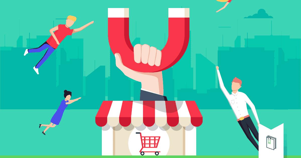 klantenbinding illustratie met winkel en magneet die klanten aan trekt