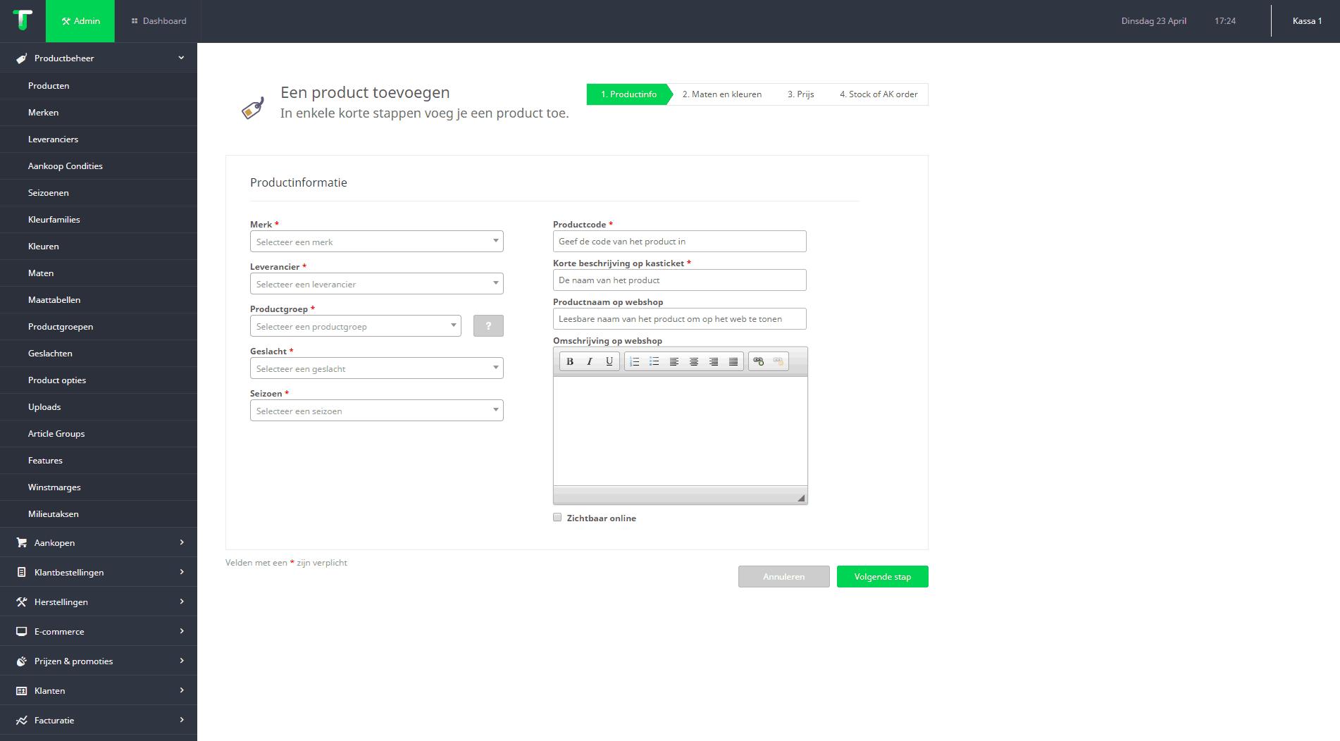 producten aanmaken en beheren screenshot