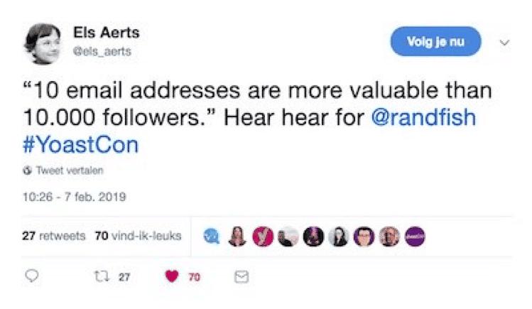 els aerts zegt emaildressen zijn waardevoller zijn dan volgers