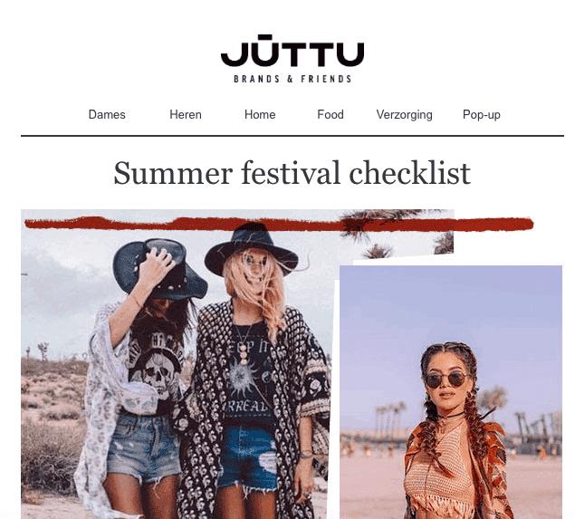 voorbeeld van newsletter retailer juttu zomerfestivals