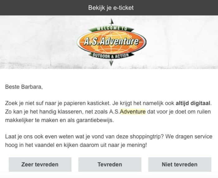 as adventure eticket feedback klanten